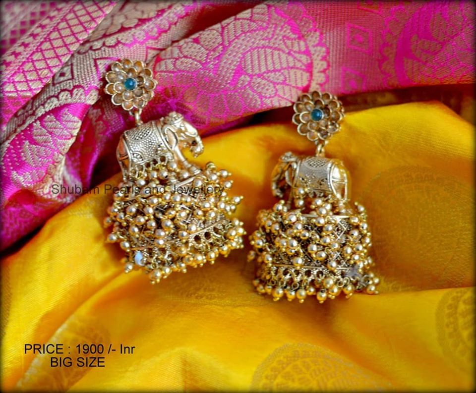 Beautiful one gram gold earrings in elephant design at studs. Price : 1900/-