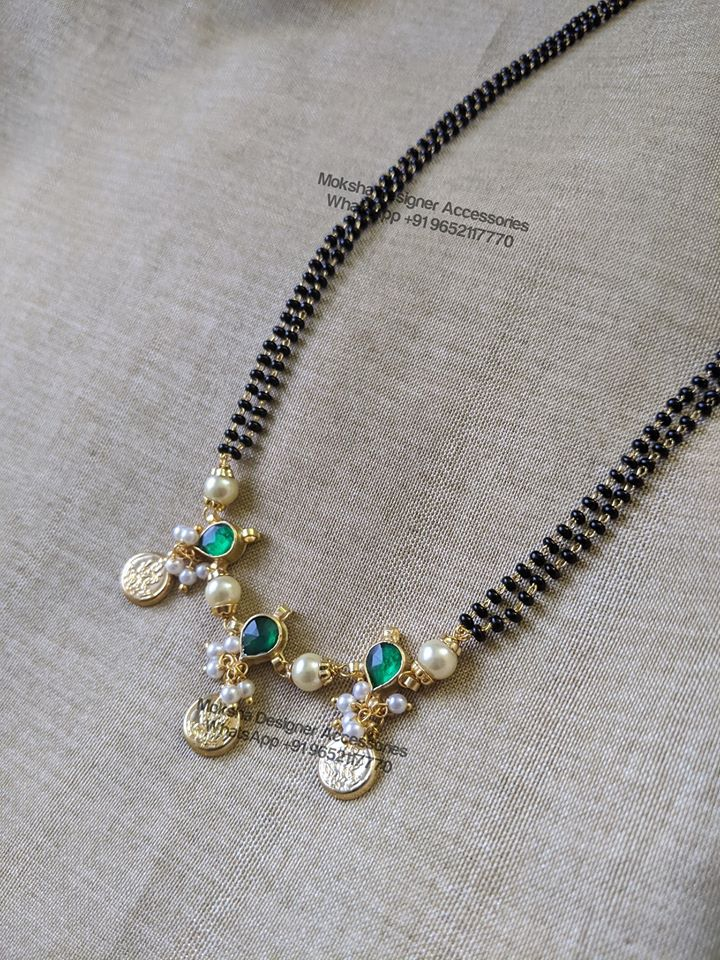 Stunning one gram gold bead chain with triple Lakshmi devi kasu hangings.