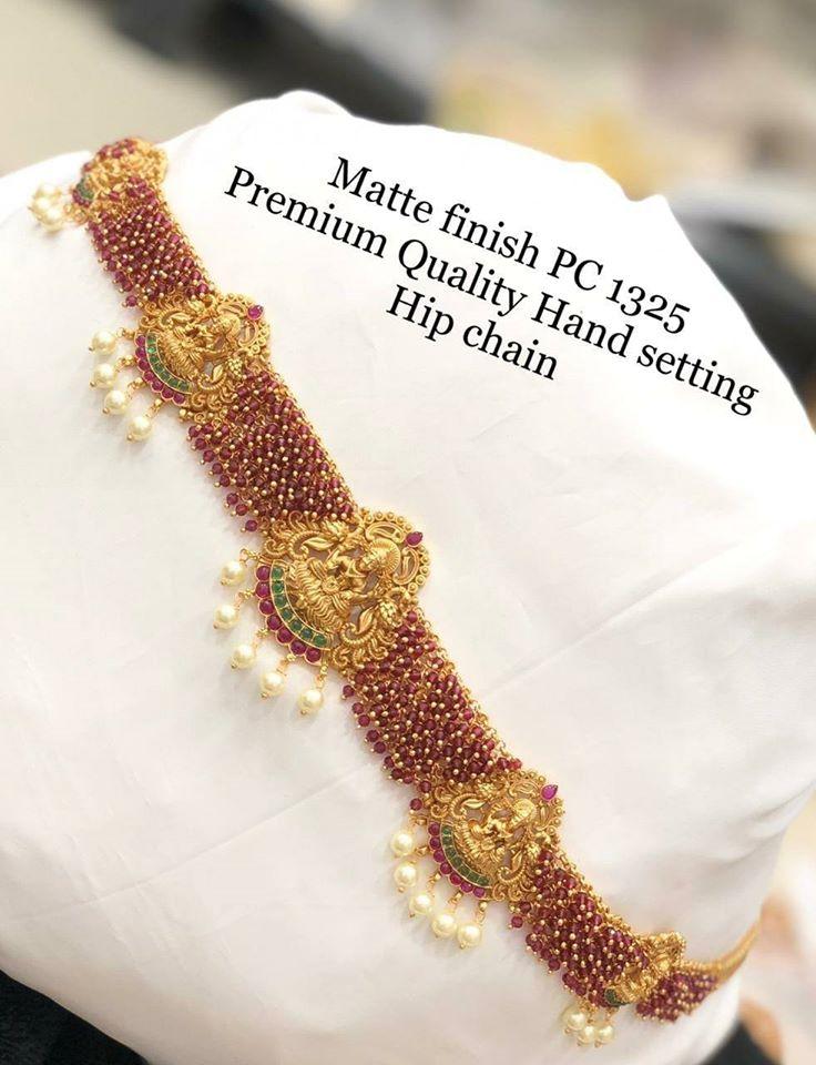 Stunning premium quality one gram gold hip chain with Lakshmi devi motifs.