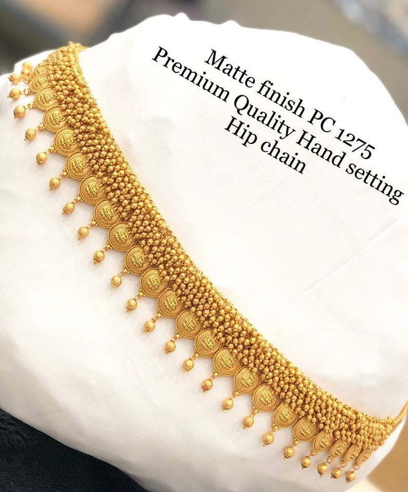 Stunning premium quality one gram gold hip chain with Lakshmi devi motifs.