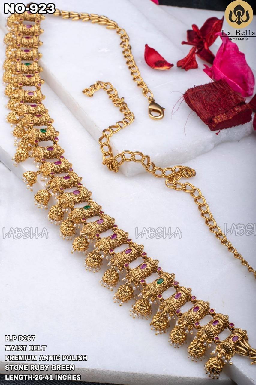One gram gold lakshmi kasu waist belt.