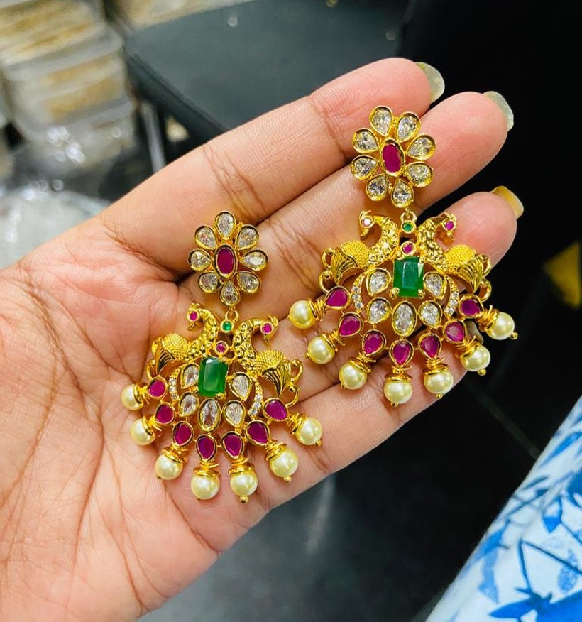 Peacock gold finish earrings
