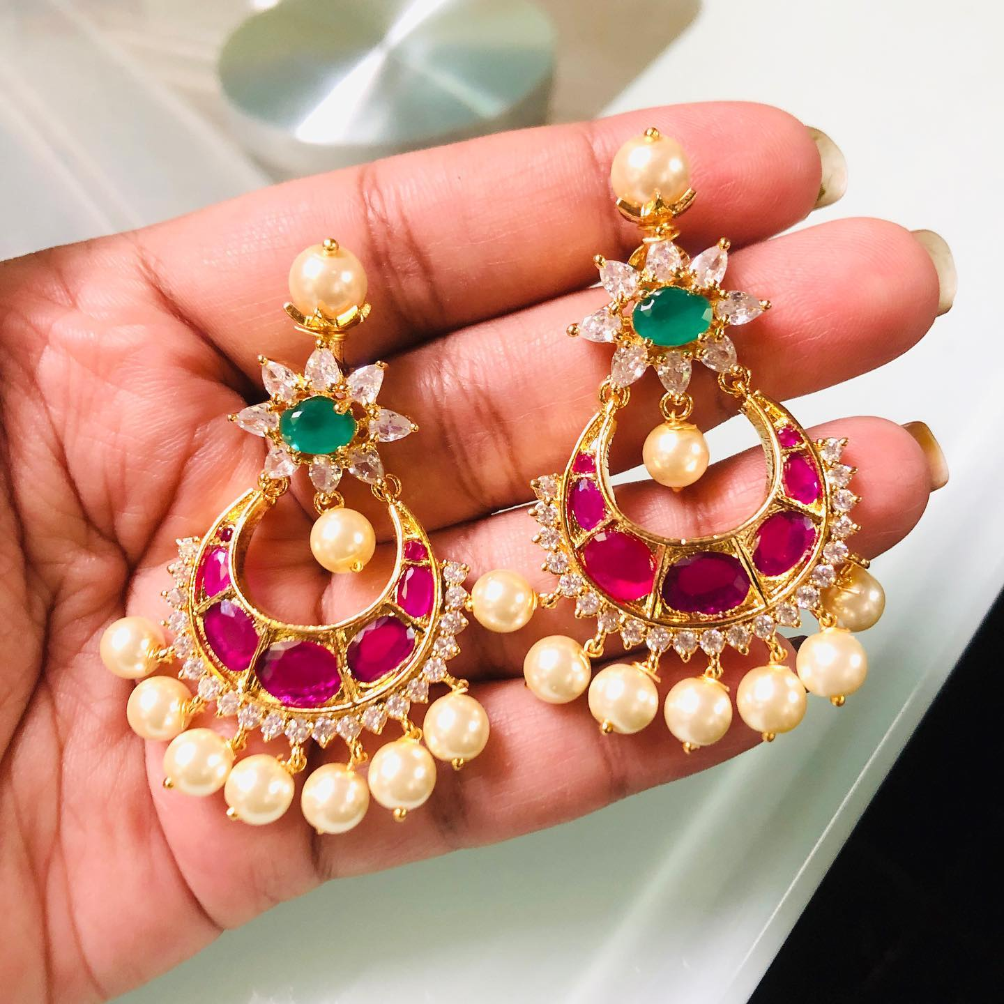 Beautiful chandbalis ruby green white studded stones