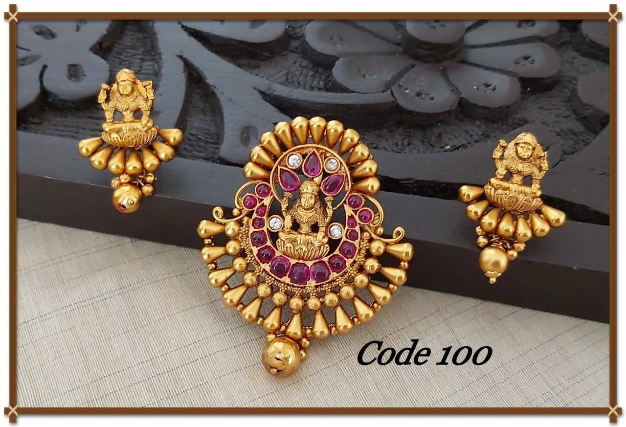 Beautiful one gram gold Lakshmi devi pendant with matching earrings.