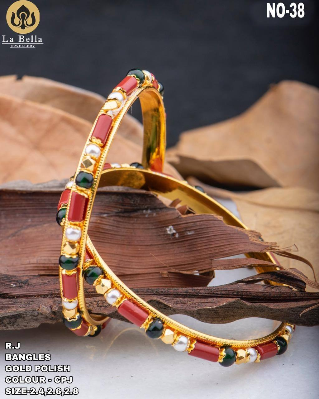 Gorgeous one gram gold bangles studded with multi color stones.