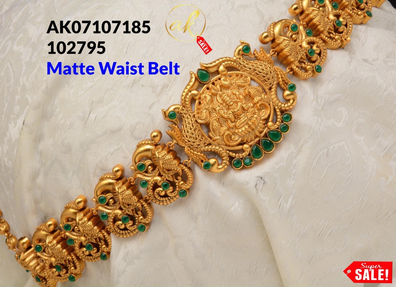 Beautiful one gram gold waist belt with Lakshmi devi motif.