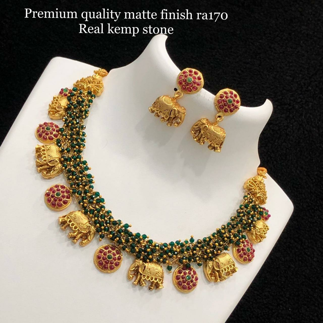 Gorgeous one gram gold necklace with Elephant and botu motifs. one gram gold choker necklace online matte finish one gram gold jewellery 1 gram gold jewellery