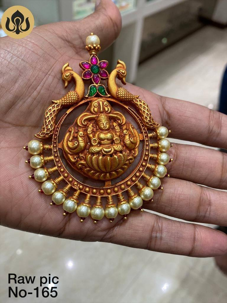 Beautiful one gram gold Lakshmi devi nakshi work pendant. one gram gold online shopping one gram gold lockets 1 gram gold chain