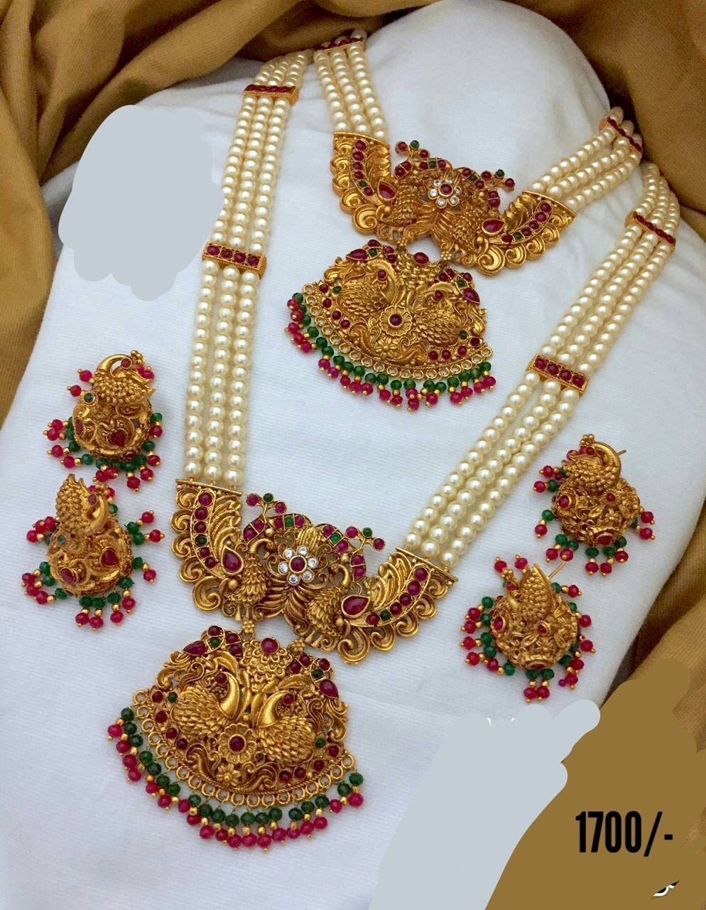 Stunning dual layer pearl chain with one gram gold pendant and matching earrings.  one gram necklace set 1 gram gold ruby necklace with price 1 gram gold jewellery designs