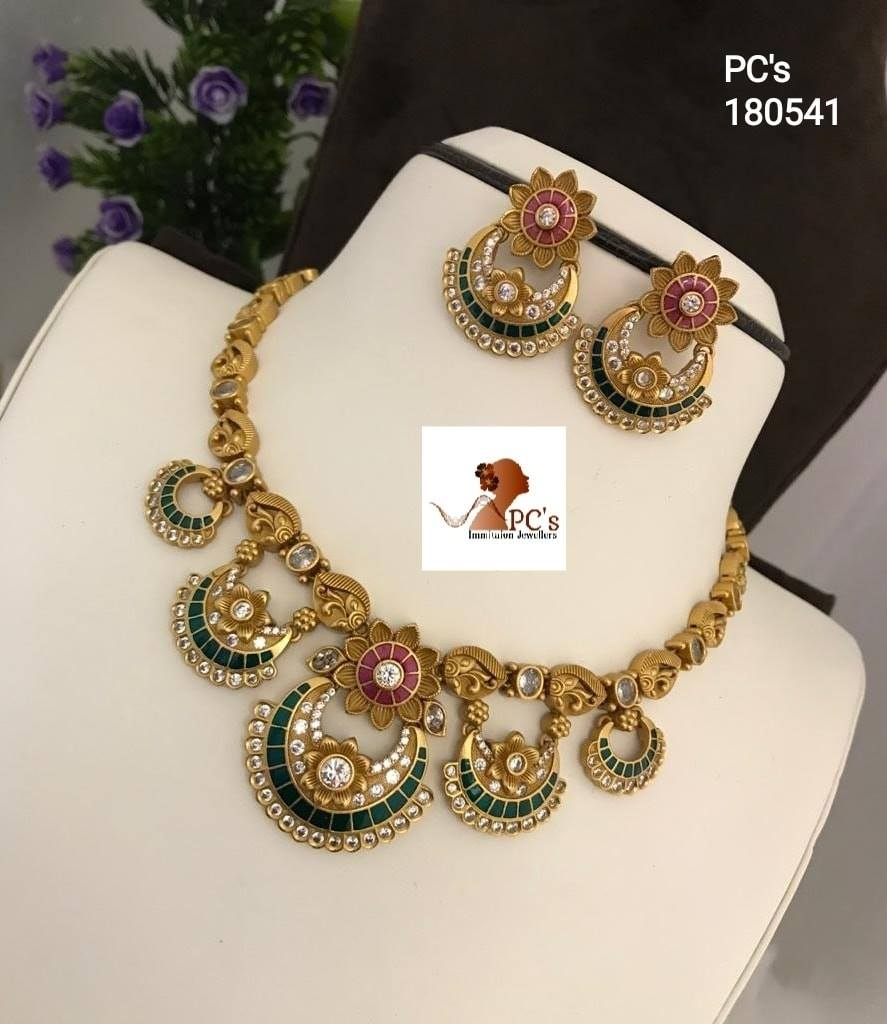 Gorgeous one gram gold necklace with chaandbali hangings. Necklace studded with multi color CZS.  one gram gold chain models one gram gold jewellery chokers 1 gram gold bridal jewellery online