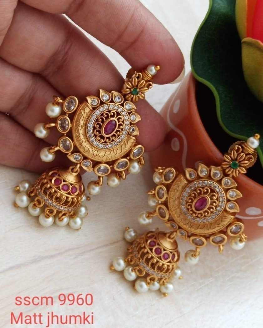Gorgeous one gram gold jumkhis studded with multi color stones. latest 1 gram gold jewellery gold earrings in 1 gram 1 gram gold jewellery with price