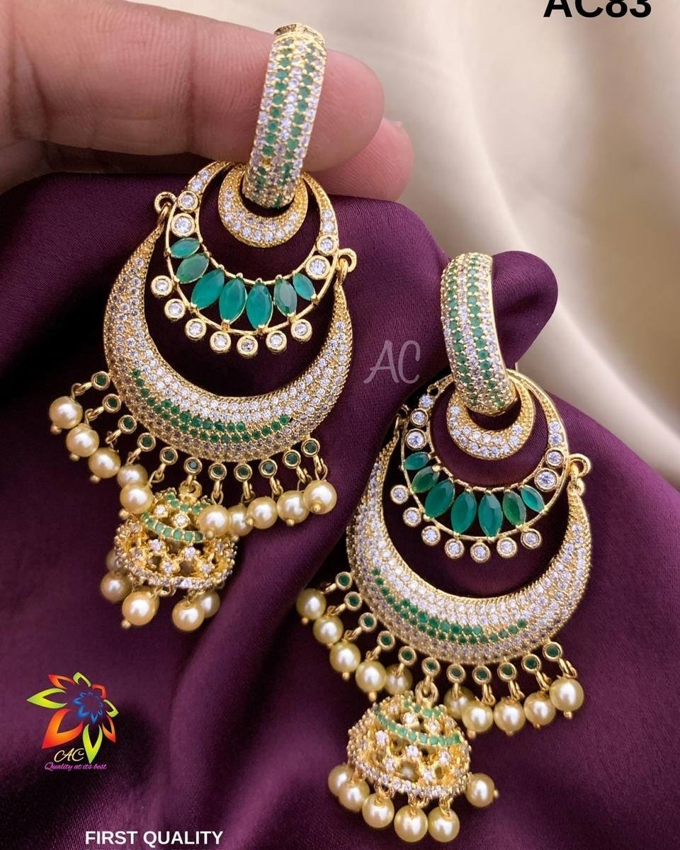 Gorgeous one gram gold chaandbalis studded with white and green color CZs. one gram gold sets online one gram gold imitation jewellery one gram gold sets with price