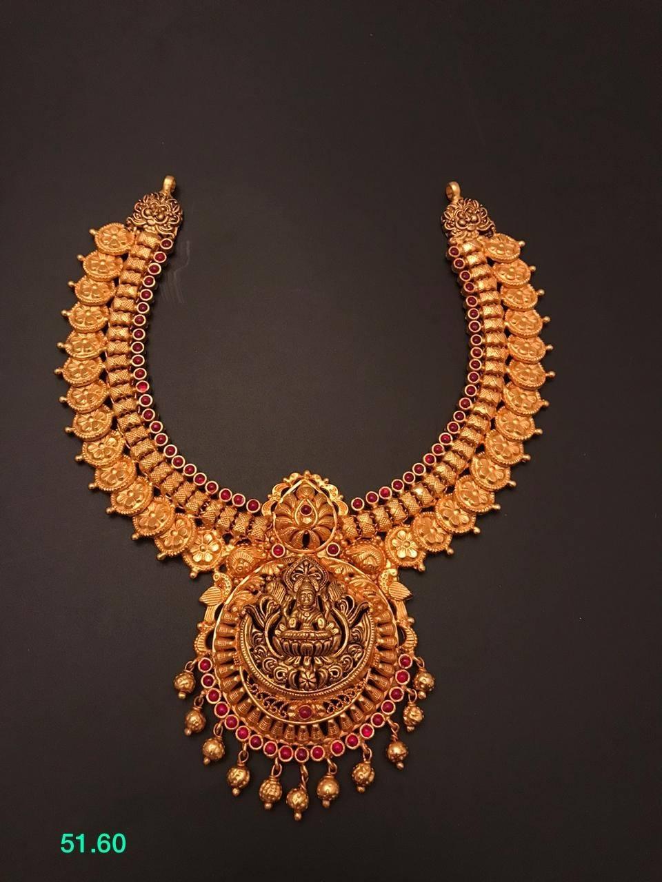 Stunning one gram gold Lakshmi ji kasu necklace with Lakshmi devi pendant. 1 gram gold mix jewellery chilakalapudi one gram gold jewellery 1 gram gold bridal sets with price