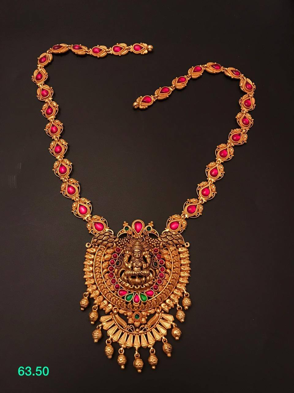 One gram gold necklace with Lakshmi ji pendant.  1 gram gold necklace online matte finish 1 gram gold jewellery 1 gram gold forming jewellery