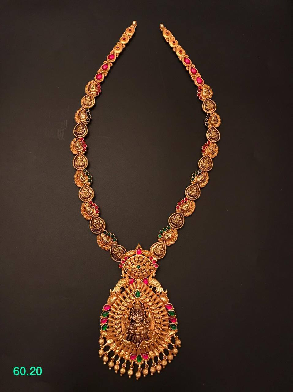 One gram gold necklace with Lakshmi ji pendant.  1gm gold jewellery online shopping 1 gram gold polish jewellery 1 gm gold chain