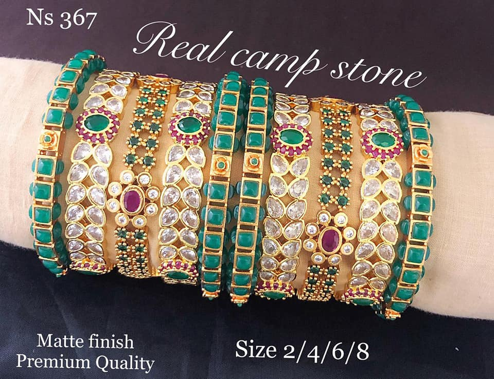 One gram gold bangles studded with multi color stones.  1 gram gold mix jewellery 1 gram gold jewellery online bangles design in one gram gold
