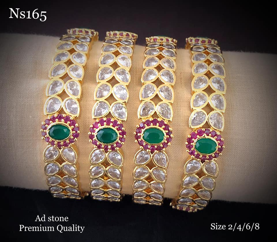 One gram gold bangles studded with multi color stones.  1 gram gold chain design 1 gram gold bangles lali mix one gram jewellery