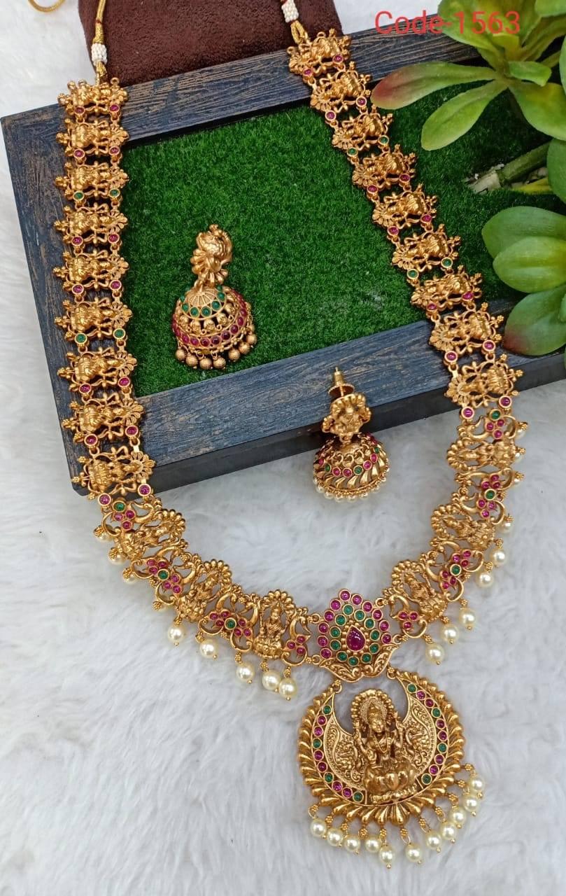 One gram gold long haaram with Lakshmi devi motifs. one gram gold set with price 1 gram gold chain for ladies 1 gram gold long haram