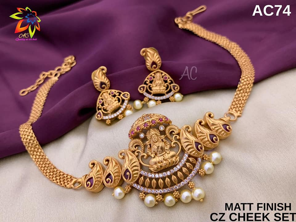 One gram gold Lakshmi choker. 1 gram gold set 1 gram jewellery online shopping 1 gram gold jewellery designs