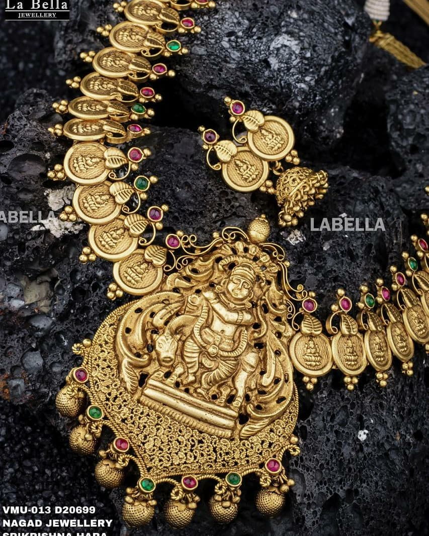 Beautiful one gram gold Lakshmi kasu necklace. 1 gram gold long necklace 1 gram gold ornaments one gram gold jewellery sets with price