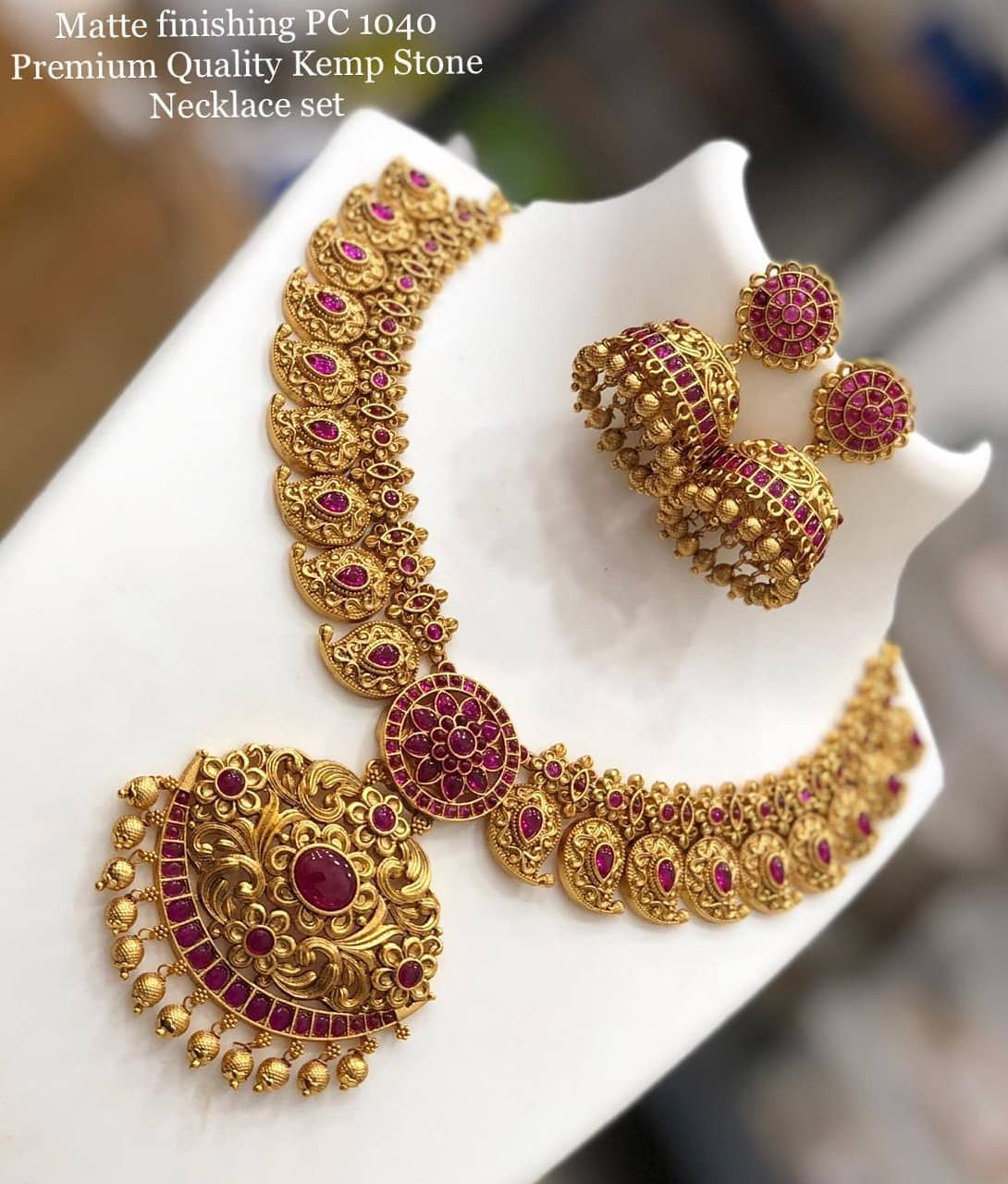 Beautiful one gram gold mango necklace with matching jumkhis.  one gram gold necklace begum bazar 1 gram gold shops one gram gold cz jewellery