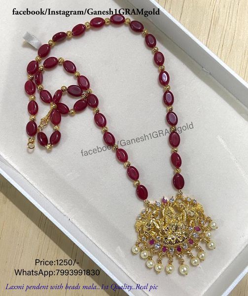 Pink beads with Pendent set mala...1st Quality Real pic