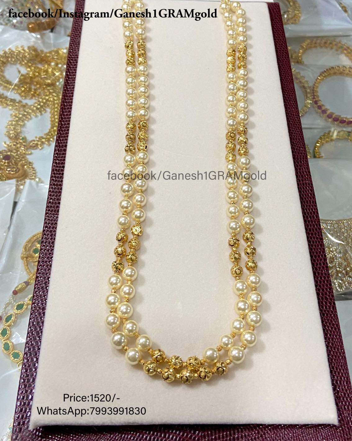 Semi pearls beads with Gold balls mala...1st Quality Real pic Price:1520/- Cash on delivery (COD) available 1 gram gold set design 1 gram gold jewellery 1 gram gold sets with price