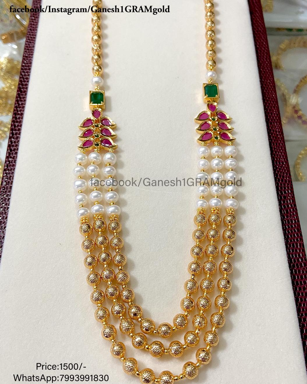 pearls beads with Gold balls mala...1st Quality Real pic Price:1500/- Cash on delivery (COD) available one gram gold online shopping 1gram gold jewelry 1 gram gold polish jewellery