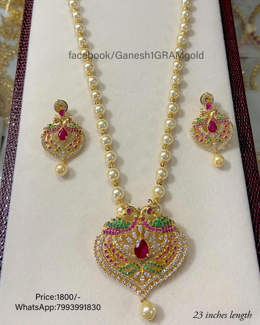 pearls beads with Pendent set...1st Quality Real pic Price:1800/- Cash on delivery (COD) available 1 gram gold jewellery online shopping cz one gram gold jewellery online 1 gram gold designs
