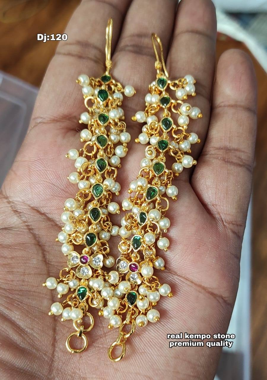 Stunning one gram gold ear hangings with guttapusalu.  one gram gold jewellery 1 gm gold earrings best one gram gold jewellery online