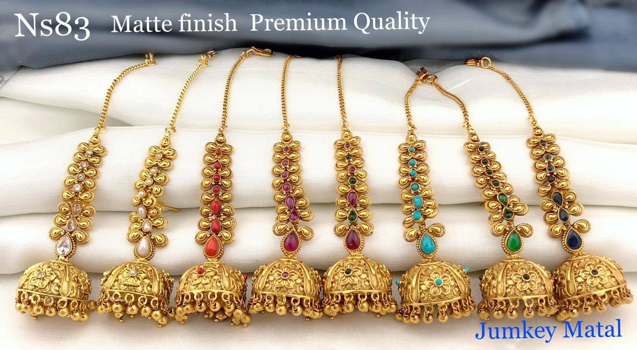 Beautiful matte finish jumkhis. 1 gm gold earrings online one gram gold jewellery online 1 gram gold chain for baby
