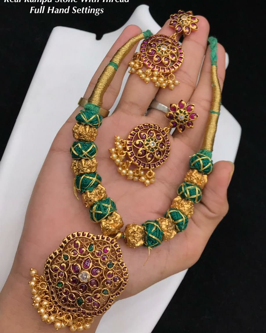 Beautiful one gram gold thread necklace. one gram gold long necklace sets begum bazar one gram gold shops one gram necklace set