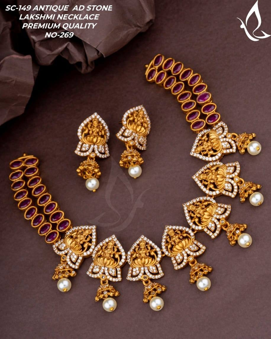 Beautiful one gram gold necklace with Lakshmi devi motifs and matching earrings. 1 gram antique jewellery 1 gram necklace set 1 gram gold jewellery for wedding