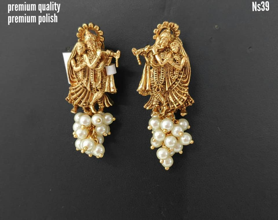 Gorgeous one gram gold radhe krishna earrings. latest 1 gram gold jewellery 1 gram gold jewellery online 1 gram gold jewellery designs collections with price
