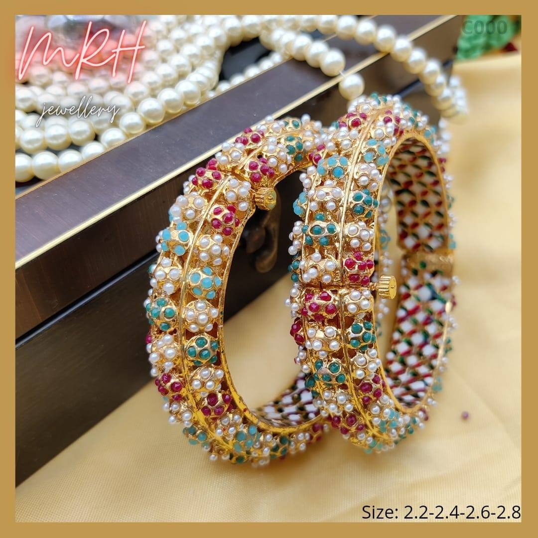 Beautiful one gram gold bangles studded with beads. Contact  917406907030. one gram gold chain models online 1gm gold jewellery one gram gold jewellery sets with price