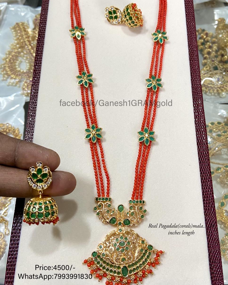 Real corals with Pendent set...1st Quality Real pic 24 inches length Price:4500/- Cash on delivery (COD) available 1 gram gold chain price one gram temple jewellery 1 gram gold online shopping