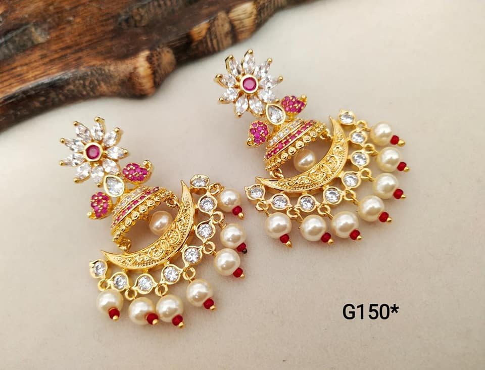 Beautiful one gram gold chandbali with beads hangigns.  one gram gold jewellery sets online one gram gold antique jewellery 1 gram gold chain for ladies