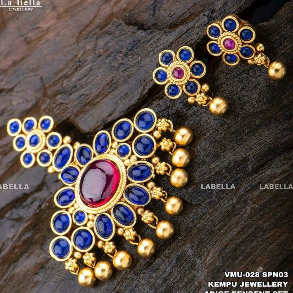 Gorgeous one gram gold pendant set with matching earrings.  one gram gold jhumkas online shopping 1 gram gold earrings online begum bazar one gram gold shops