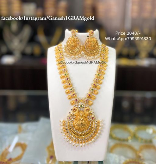 Beautiful one gram gold Laxmi kasula necklace..... Price:3040/- Cash on delivery (COD) available. 1 gm gold ornaments 1 gram jewellery wholesale one gram gold sets with price