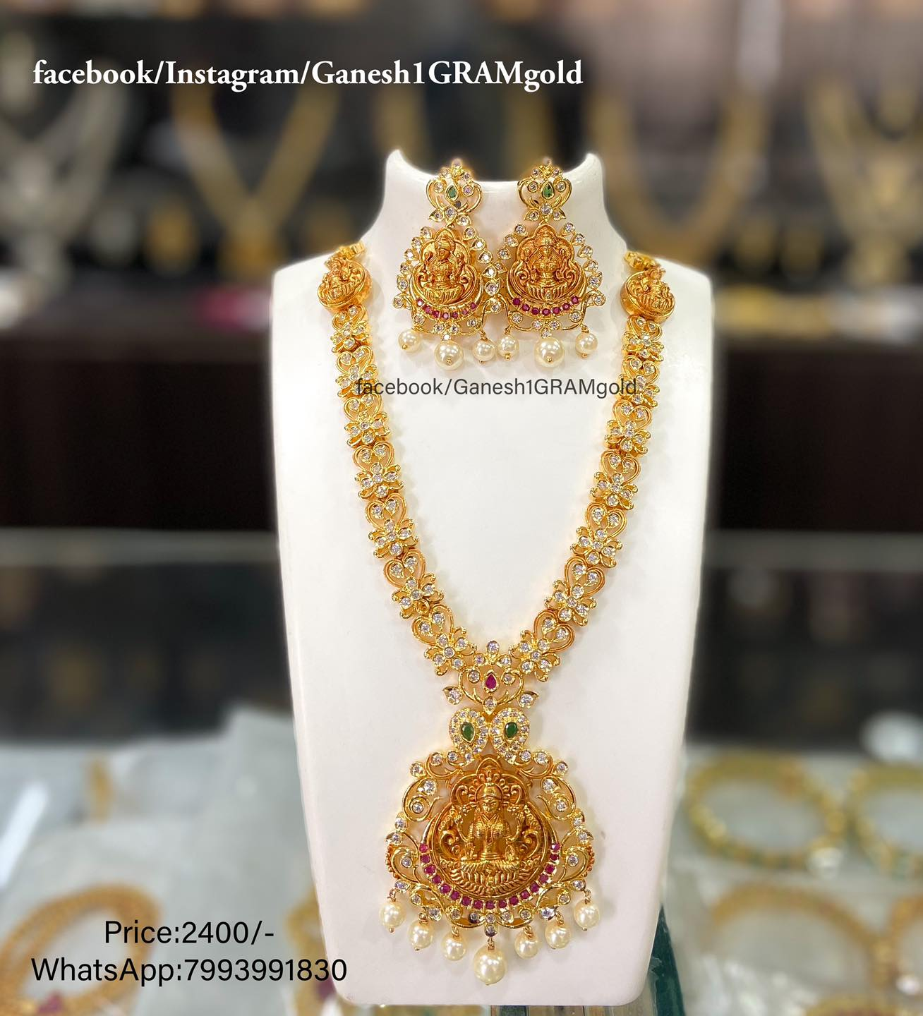 One gram gold Cz stones necklace..... Price:2400/- Cash on delivery (COD) available 1gm gold jewellery online 1 gram gold jewellery 1 gram gold jewellery wholesale begum bazar
