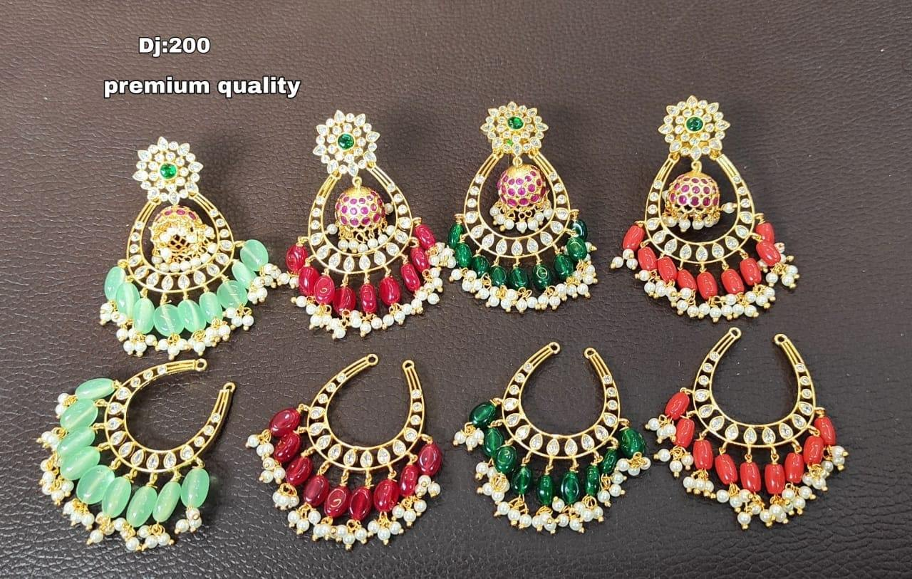 Stunning one gram gold chaandbali with jumki hangings. Earrings studded with multi color stones. one gram gold chain models 1 gram gold jhumka earrings online best 1 gram gold jewellery online