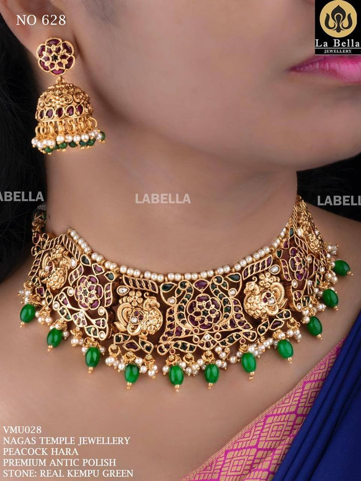 Stunning one gram gold peacock choker studded  with real kemp. 1 gram gold choker necklace sets with price 1 gram gold necklace designs 1 gram gold chain price