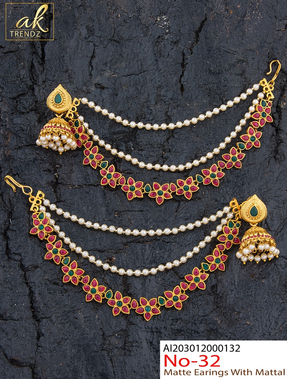 Beautiful one gram gold jumkhis with champasaralu or matilu studded with multi color keps. 1 gram gold studs one gram gold jewellery sets 1 gram gold chain for baby