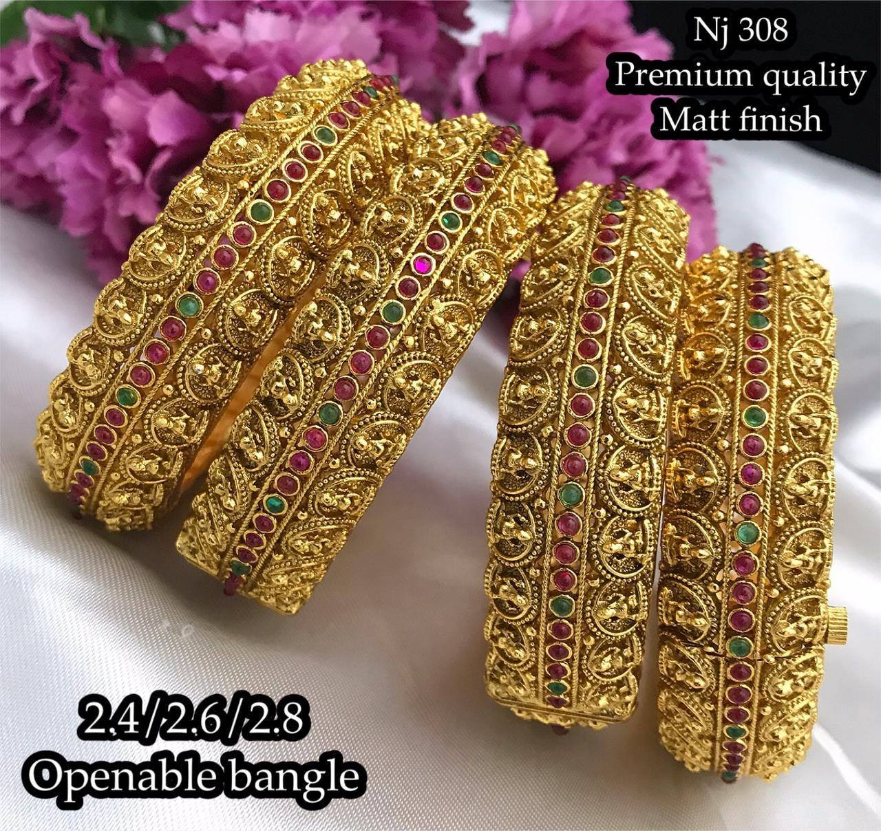 Stunning one gram gold Lakshmi bangles studded with pink and green stones. One gram gold openable bangles. 1 gram gold jewellery online shopping cash on delivery one gram gold kada bangles 1 gram gold sets with price