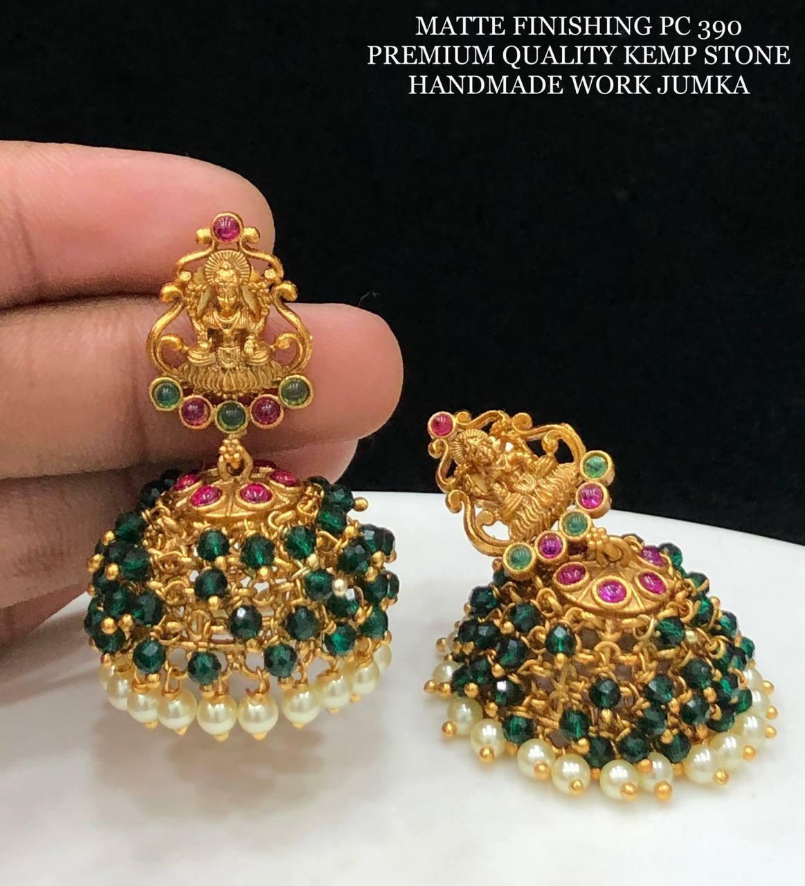 Stunning one gram gold Lakshmi jumkhis with green beads. one gram gold antique jewellery 1 gram gold jewellery for wedding 1 gram gold chain