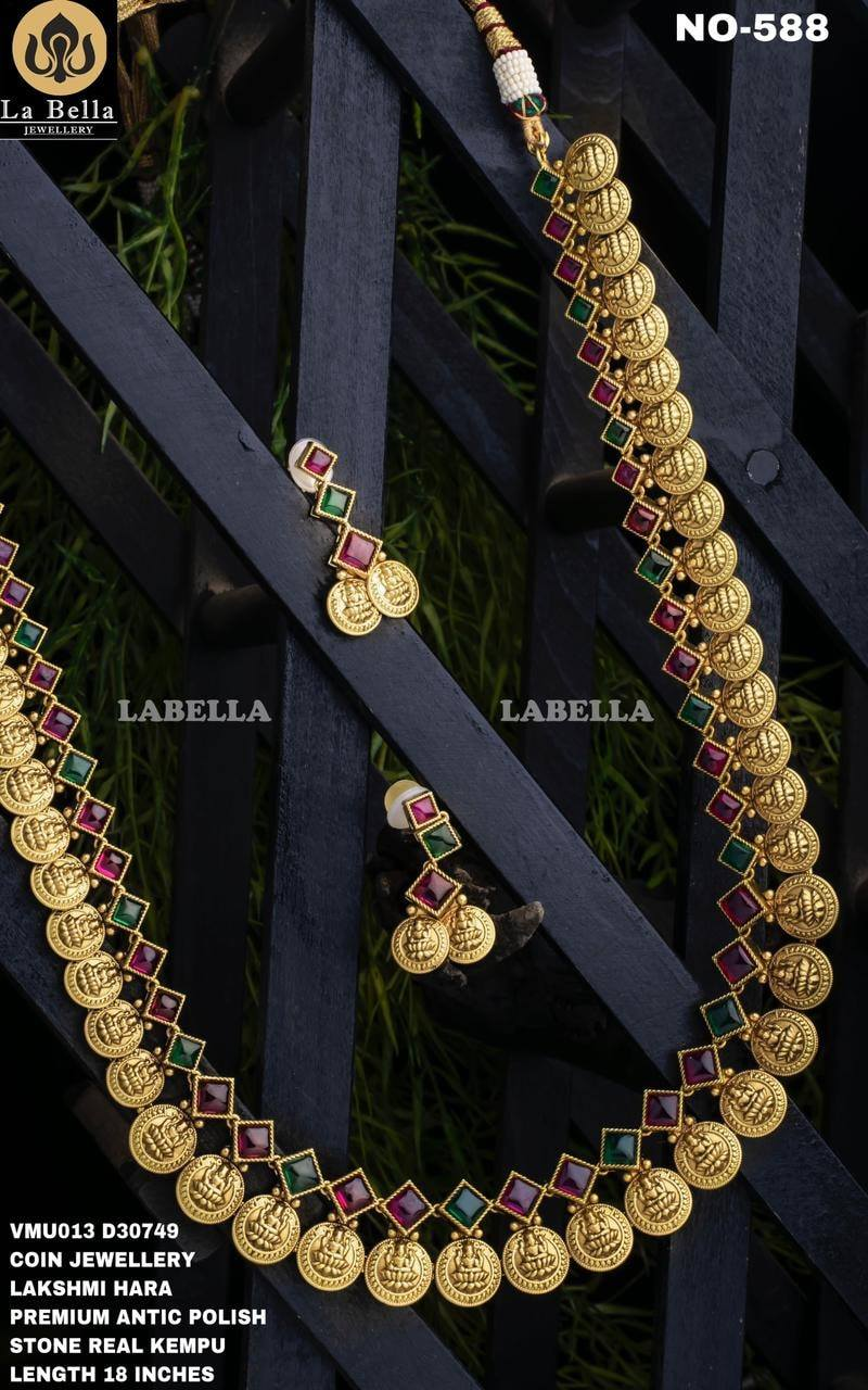 Beautiful one grma gold Lakshmi kasu long haaram studded with green and pink stones. 1 gram gold antique jewellery 1 gram gold online one gram jewellery wholesale