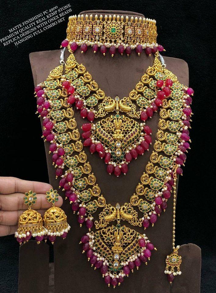 Beautiful one gram gold heavy bridal set.