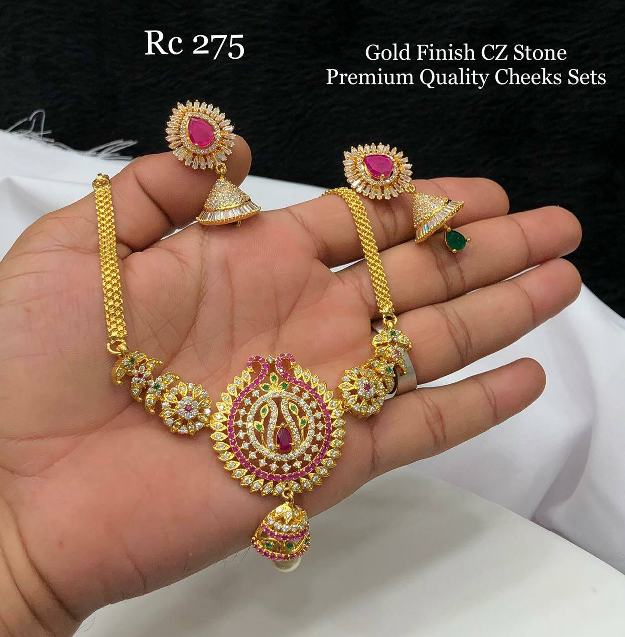 Gorgeous one gram gold choker set studded multi color stones. one gram gold sets online one gram gold necklace set with price one gram gold jewellery online with price