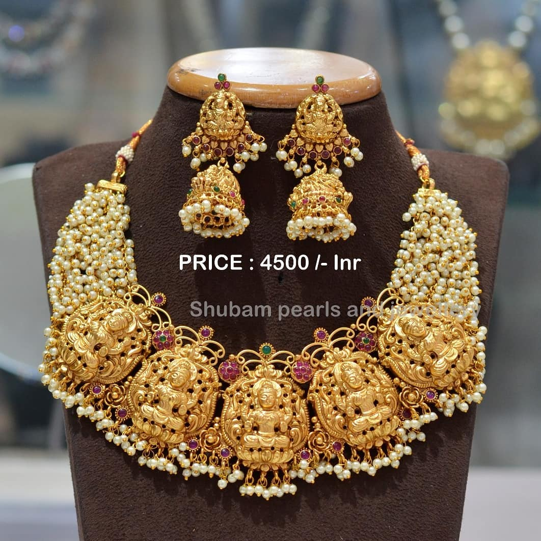 Stunning one gram gold Lakshmi devi guttapusalu choker. one gram gold jewellery designs with price one gram gold jewellery online 1 gram gold jewellery designs