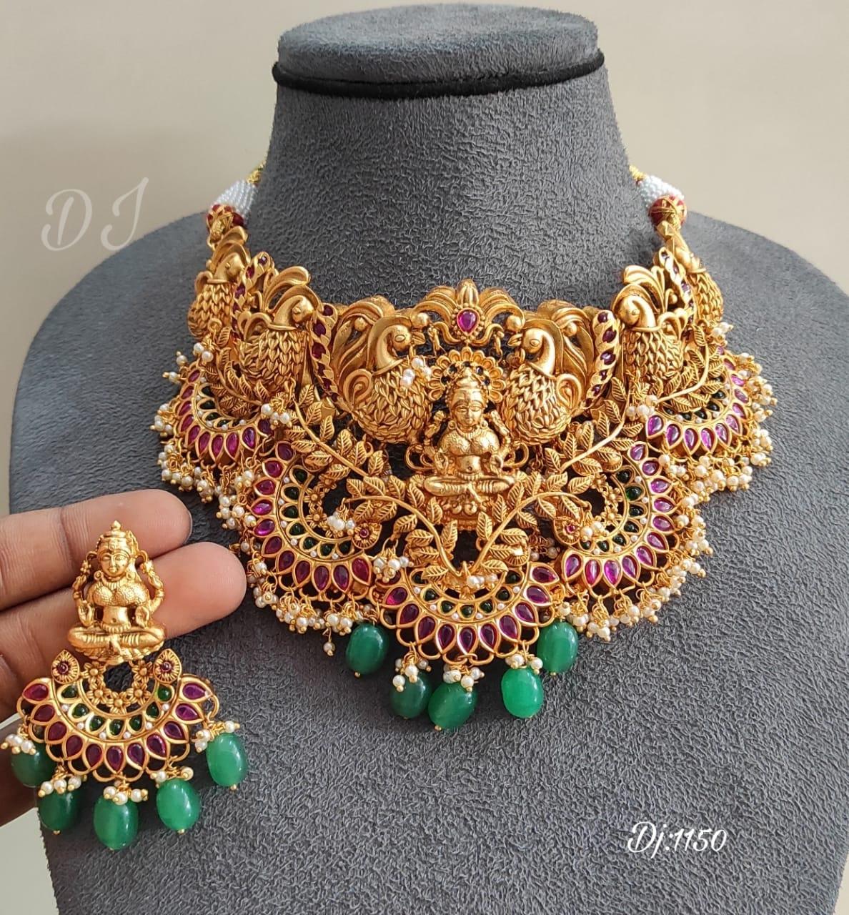 Beautiful one gram gold Lakshmi choker with matching earrings.
